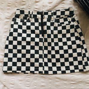 BDG checkered jean skirt